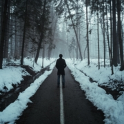 person in black jacket walking on snow covered pathway